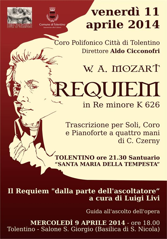 """""""REQUIEM"""" di Mozart, venerdi 11 aprile alle 21.15, presso il Santuario di Santa Maria della Tempesta a Tolentino"""